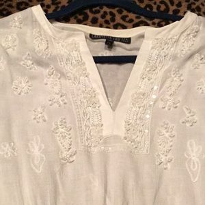 Lafayette 148 White Boho Beaded Top